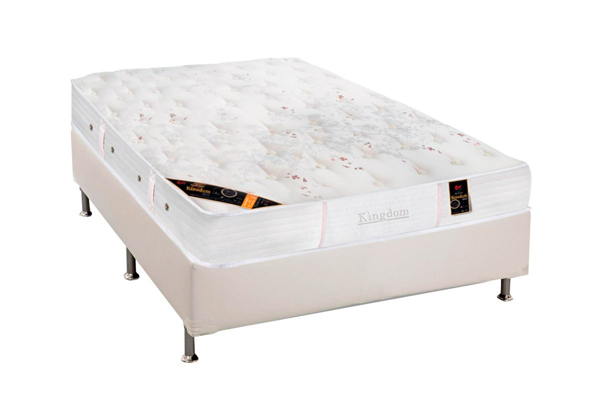 Colchão Castor de Molas Pocket Kingdom Skin Double Face + Cama Box Universal Courino White