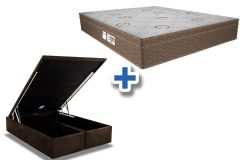 Conjunto Cama Box Baú - Colchão Probel de Molas Pocket ProDormir Evolution Euro Pillow + Cama Box Baú Nobuck Rosolare Café