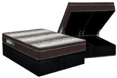 Conjunto Cama Box Baú - Colchão Ortobom Ortopédico Light Orto Pillow + Cama Box Baú Black -